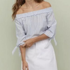 H&M Off the Shoulder Striped Blue Blouse Top Sz 2